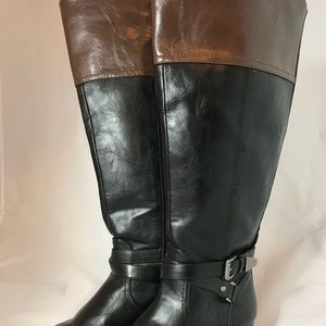 Brown Black Colorblock Riding Boots Wide Calf 7.5
